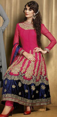 Classic Pink and Beige Brown Faux Georgette Anarkali Salwar Kameez - IG8689 USD $ 114.09