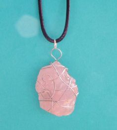 ROSE-QUARTZ-Wire-Wrapped-NATURAL-Gemstone-Pendant-Necklace