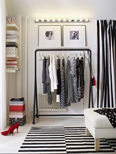 Not enough closet space in your small college apartment? Get TURBO! This easy-to-assemble clothes rack makes it easy to customize your small space according to your needs. Ikea Closet, Closet Bedroom, Closet Space, Clothes Rack Bedroom, Hanging Clothes Racks, Dressing Room Closet, Clothes Rail, Dressing Rooms, Diy Clothes