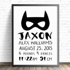 BATMAN BIRTH PRINT - CUSTOMISED. Boys Superhero nursery and bedroom wall art decor print. Personalised with birth details.