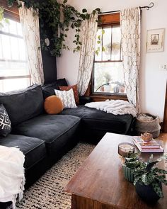 Home Interior Decoration Bohemian Latest And Stylish Home decor Design And Life Style Ideas.Home Interior Decoration Bohemian Latest And Stylish Home decor Design And Life Style Ideas Home Living Room, Apartment Living, Living Room Designs, Black Sofa Living Room Decor, Living Room With Plants, Black Sofa Decor, Dark Living Rooms, Cozy Living Spaces, Cottage Living