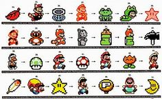As years go by I was a Super Nintendo guy. All the different mario games that came out during this time, it open my mind to a different type of way to play the game. As mario evolved so did I. The Evolution of Power-ups - nintendo Photo Cross Stitching, Cross Stitch Embroidery, Cross Stitch Patterns, Super Mario Bros, Pixel Art, Arte Game Of Thrones, Illustration Photo, Video Vintage, 8bit Art