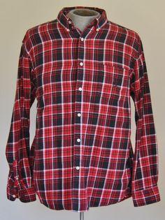 Ralph Lauren Chaps Mens Shirt XL Flannel Red Plaids & Checks Cotton Long Sleeve #RalphLaurenChaps free shipping Buy Now  $16.99