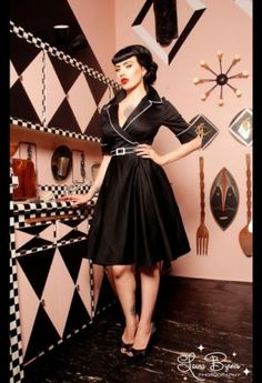 Haunted Housewife Dress in Black with White from Deadly Dames - Pinup Girl Clothing.jpg