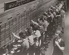 Remember having to call in to the operator every time you made a phone call?  Well, these hard working people would connect you to the right person.  It's all done digitally now, but you can imagine what these rooms must have been like back in the day!