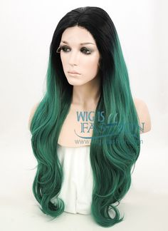 """24"""" Long Curly Wavy Black Mixed Dark Green Ombre Lace Front Synthetic Hair Wig LF811 - Wig Is Fashion"""