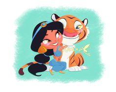 Jasmine and Rajah by Nippy13 on DeviantArt