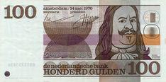 100 gulden Nederland, 1970-1990, Michiel Adriaanszoon de Ruyter, admiraal en zeeheld.