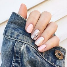 How gorgeous is this?!? Of course! This mani includes We're Blushing (2 coats), ring finger and thumb have a coat of Bachelorette and middle has the Silver Stripe