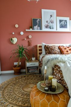 30 French Country Bedroom Design and Decor Ideas for a Unique and Relaxing Space - The Trending House Home Decor Bedroom, Bedroom Wall, Living Room Decor, Coral Walls Bedroom, Warm Bedroom Colors, Bedroom Ideas, Diy Bedroom, Bedroom Inspiration, Bed Room