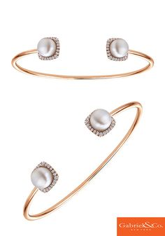 Loving this 14k Pink Gold Diamond Pearl Bangle by Gabriel and Co. Look even better when it's stack. Check out more styles like this at www.gabrielny.com