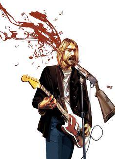 Kurt Cobain art Kurt Cobain Art, Nirvana Art, Dave Grohl, Foo Fighters, White Boys, Great Bands, Rock Music, Rock N Roll, Pop Art