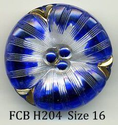 czech glass button blue flower with gold - size 16, 36 mm FCB H204 by buttonsandshanks on Etsy