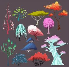 doodles and sketches, Drew a bunch of trees # nature geometry illustration Prop Design, Game Design, Art And Illustration, Fantasy Kunst, Fantasy Art, Doodle Drawing, Drawing Drawing, Drawing Ideas, Art Environnemental
