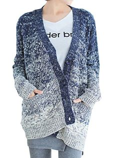 Amazing Women Full Sleeve Gradient Color Button Loose Knitted Cardigan Sweater on buytrends.com