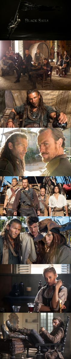 """Black Sails"" ~ Toby Stephens (Captain Flint), Luke Arnold (John Silver), Jessica Parker Kennedy (Max), Zach McGowan (Captain Charles Vane), Hannah New (Eleanor Guthrie), Tom Hopper (Billy Bones), Toby Schmitz (Rackham)"