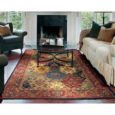 <br><li>Update your home decor with this hand-tufted rug <li>Floor rug from India features distinctive designs <li>Area rug is woven from an opulent 100-percent wool pile