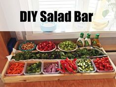 Welcome to the website of Ana White, your source for great DIY furniture and woodworking projects. Choose from a variety of great free woodworking plans! Big Salad, Soup And Salad, Ana White, Salad Bar Party, Charcuterie, Crate Bar, Salad Buffet, Pasta Sauce, Deco Restaurant