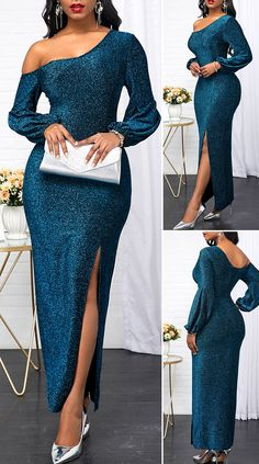 Long Sleeve Skew Neck Green Dress HOT SALES beautiful dresses, pretty dresses, holiday fashion, dresses outfits, d Elegant Dresses Classy, Elegant Dresses For Women, Classy Dress, Pretty Dresses, Beautiful Dresses, Elegant Styles, Dress Casual, Sexy Dresses, Short Dresses