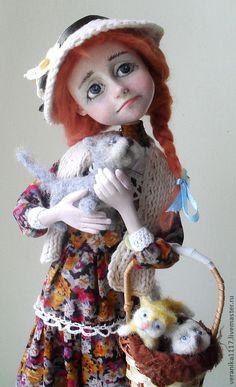 """Купить Авторская кукла """"Отдам котят в хорошие руки"""" - рыжий, рыжая девочка, котята"""