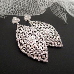 Bridal Earrings Crystal Wedding earrings Rose gold by treasures570, $65.00