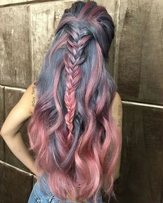 crazy hair color, Grayish Blue & Rose Pink Hair with Fishtail Braid Rose Pink Hair, Pastel Hair, Bright Hair, Pastel Pink, Pink Blue, Color Blue, Teal Orange, Color Mix, Blue Gold