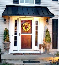 The Juliet Style Door Awning in Black Metal. Front Door Overhang, Front Door Awning, Front Door Canopy, Porch Awning, Metal Awning, Front Door Entrance, Porch Roof, Side Porch, House Entrance