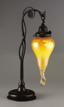 An American Art Glass Lamp     Tiffany Studios, Corona, New York   Circa 1900   Favrile glass, patinated bronze