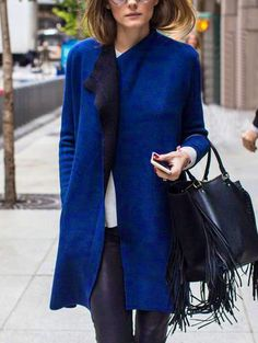 Blue Long Sleeve Slim Trench Coat -SheIn(abaday)
