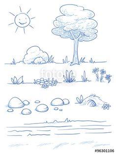 """Laden Sie den lizenzfreien Vektor """"Set of landscape and nature background parts: tree, bush, stones, hills, grass, leaves and flowers. Hand drawn vector illustration."""" von danielabarreto zum günstigen Preis auf Fotolia.com herunter. Stöbern Sie in unserer Bilddatenbank und finden Sie schnell das perfekte Stockbild für Ihr Marketing-Projekt!"""