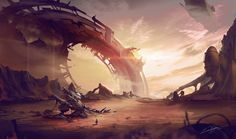 Crashed by Kailyze mech mecha alien plaent landscape location environment architecture | Create your own roleplaying game material w/ RPG Bard: www.rpgbard.com | Writing inspiration for Dungeons and Dragons DND D&D Pathfinder PFRPG Warhammer 40k Star Wars Shadowrun Call of Cthulhu Lord of the Rings LoTR + d20 fantasy science fiction scifi horror design | Not Trusty Sword art: click artwork for source