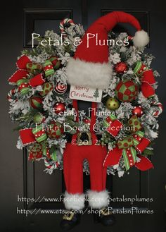 "PRE-ORDER ""2016"" Delivery-Christmas Wreath""Suspender Santa""- Santa Wreath-An Original by Petals & Plumes-The Creator of the Character Wreath"