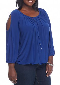 Kim Rogers® Plus Size Cold Shoulder Knit Top