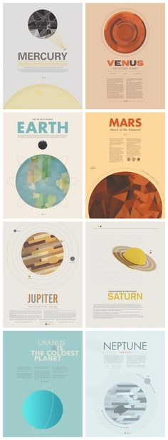 'Beyond Earth' poster series by Stephen Di Donato [where's Pluto? I don't care if it's not a planet anymore according to NASA, I still think it's a planet.]