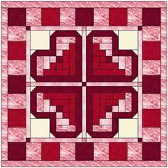 Log Cabin Heart Quilt Block Pattern Download                                                                                                                                                                                 More
