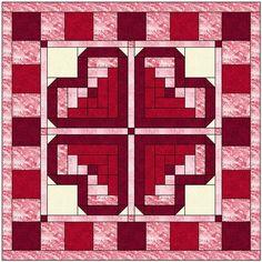 Log Cabin Heart Quilt Block Pattern Download
