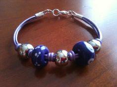 pulsera abalorios y cuero - bracelet DIY