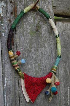 Купить Бутон текстильное колье - разноцветный, колье, бусы, украшение, украшение на шею, Гайдай Виктория