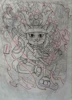 Asian Tattoos, Leg Tattoos, Black Tattoos, Japanese Sleeve, Japanese Art, Tattoo Sketches, Tattoo Drawings, Tattoo Samurai, Lucky Cat Tattoo