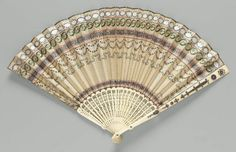 France - Fan - Silk leaf painted in gouache with applied sequins and spangles (brass, silver, copper); bone guards with applied steel decorations; Antique Fans, Vintage Fans, Vintage Love, Hand Held Fan, Hand Fans, Fan Decoration, Dress Drawing, Mother Of Pearl Buttons, Museum Of Fine Arts