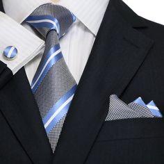 "3PC Silk Necktie Set Color: Light Blue,White and Silver 59"" Length, 3.25"" Width"