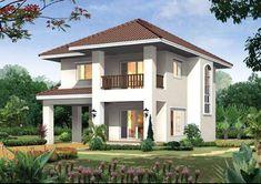 บล็อกสรรสาระอย่างสนุกสนาน Two Story House Design, 2 Storey House Design, Small House Design, Modern House Design, Jamaica House, Bungalow House Plans, Luxury House Plans, House Paint Exterior, House Elevation