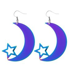 $4.27--Hollow Out Star Moon Drop Earrings - COLORMIX