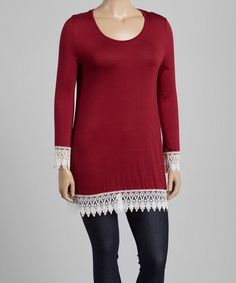 Look what I found on #zulily! Burgundy Crochet-Trim Scoop Neck Tunic - Plus #zulilyfinds