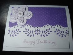 Handmade Birthday Card Stampin Up Martha Stewart Purple Swiss Dots   eBay