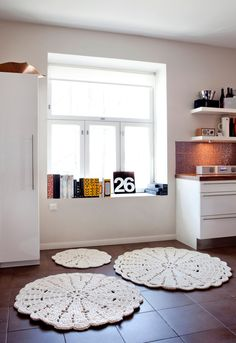 {off-white lace rug} by Hooked Design - makes a room so cozy-looking!