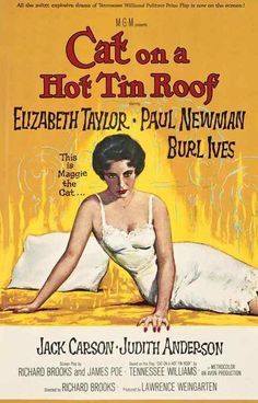 Cat On A Hot Tin Roof Elizabeth Taylor Paul Newman Movie Rare Vintage Poster