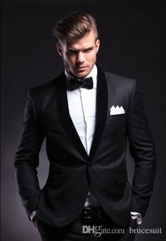 2016 Design Tailored Black Velvet Lapel Wool Groom Tuxedo/Wedding Groom'S Suits For Men SetJacket+Pants+Bowtie Gray Prom Tuxedos Latest Trends Mens Formal Wear From Brucesuit, $109.55| Dhgate.Com