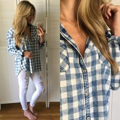 🆕 Soft Vintage Plaid Button-down Brand New, tags attached. Size Large available. Modeling Large. LOVE LOVE LOVE. This has a worn in vintage feel and look to it. Ultra soft and not the stiff feel. Lightweight and great for spring Tops Button Down Shirts