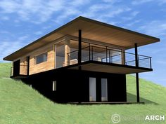 section plan architecture house House Roof, Facade House, Home Building Design, Building A House, Hillside House, Casas Containers, Model House Plan, Rest House, Small House Design